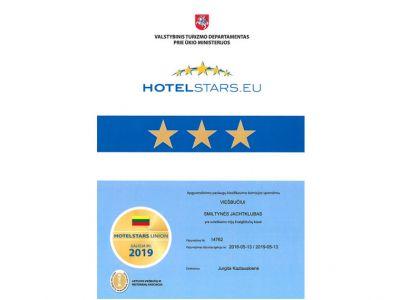 Smiltynes jachtklubo sertifikatas 3*
